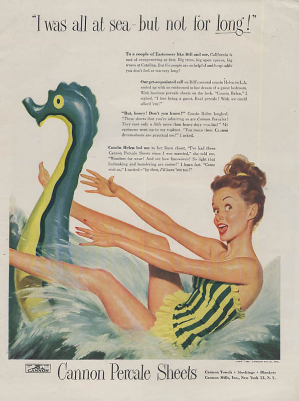 Image for I was at sea Cannon Percale Sheets ad 1948 bathing beauty inflatable dragon