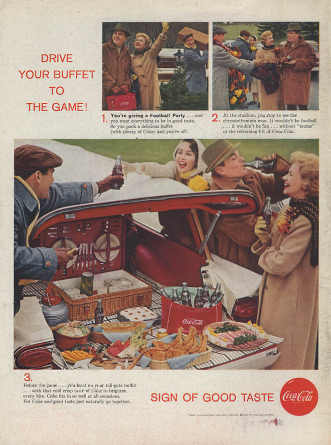 Drive your buffet to the Game! Coca-Cola ad 1958 1958 Ford Wagon tailgating L