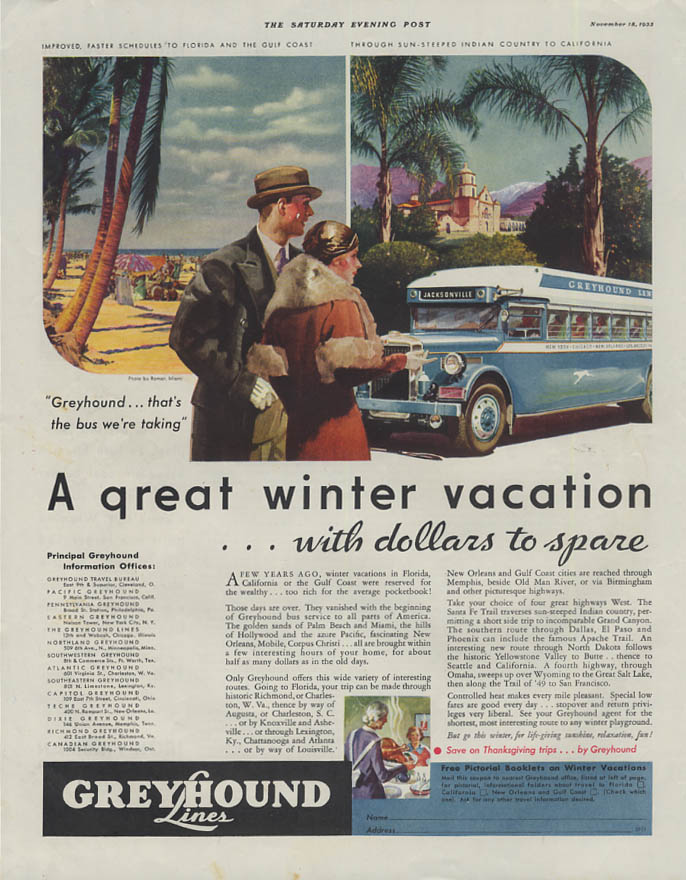 A great winter vacation with dollars to spare Greyhound Bus ad 1933 SEP