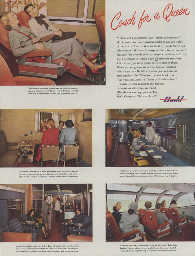 Coach for a Queen Budd Railroad Cars ad 1948 Vista-Dome Sleeper-Coach Diner H