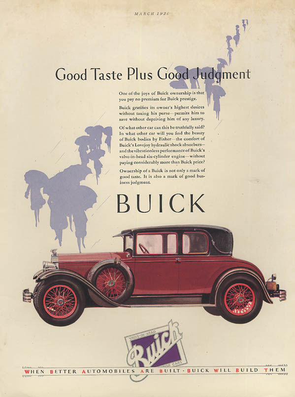 Good Taste Plus Good Judgment - Buick Cabriolet Sedan ad 1928