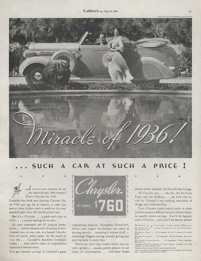 Miracle of 1936 - such a car at such a price Chrysler Convertible Sedan ad