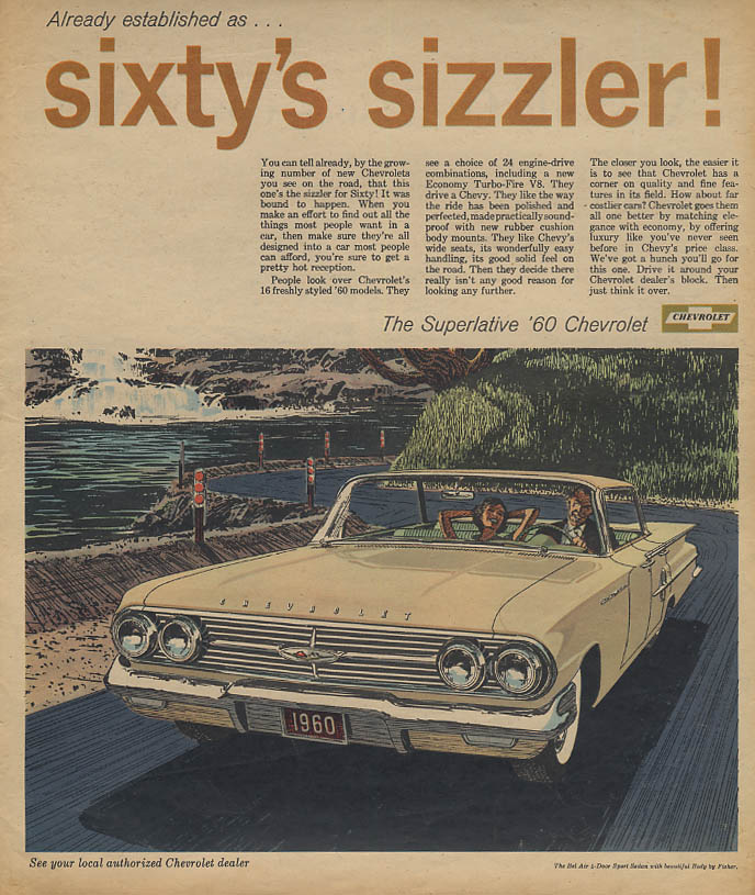 Already established as Sixty's Sizzler Chevrolet Bel Air 4-dr HT ad 1960 AW