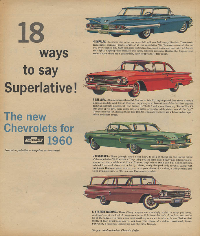 18 Ways to say Superlative Chevrolet Impala Bel Air Biscayne & Wagons ad 1960 AW