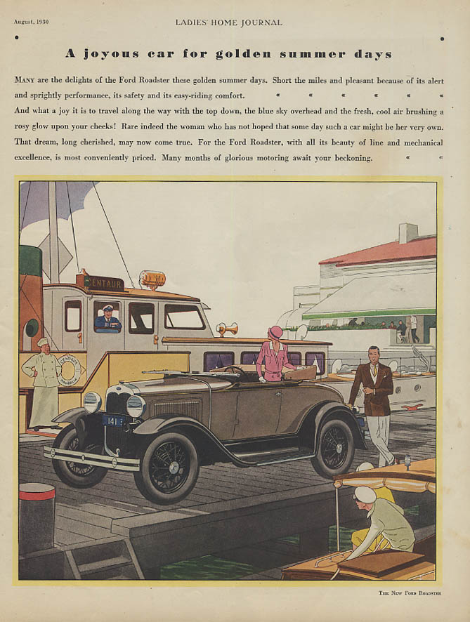 A joyous car for golden summer days Ford Model A Roadster ad 1930 LHJ