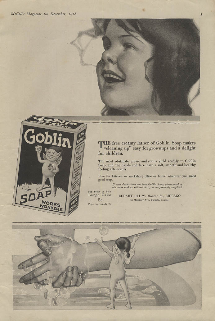 Free creamy lather makes cleaning up easy Goblin Soap ad 1918