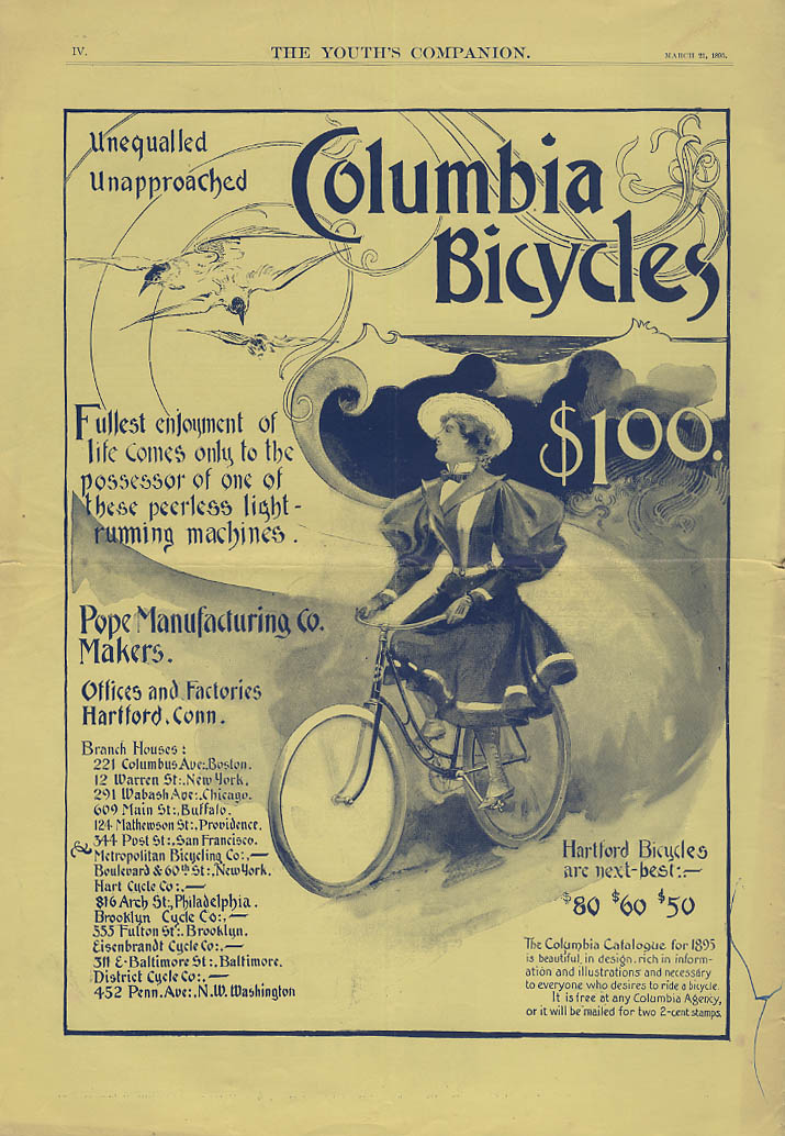 Unequalled Unapproached Columbia Bicycles Pope Manufacturing ad 1895 woman