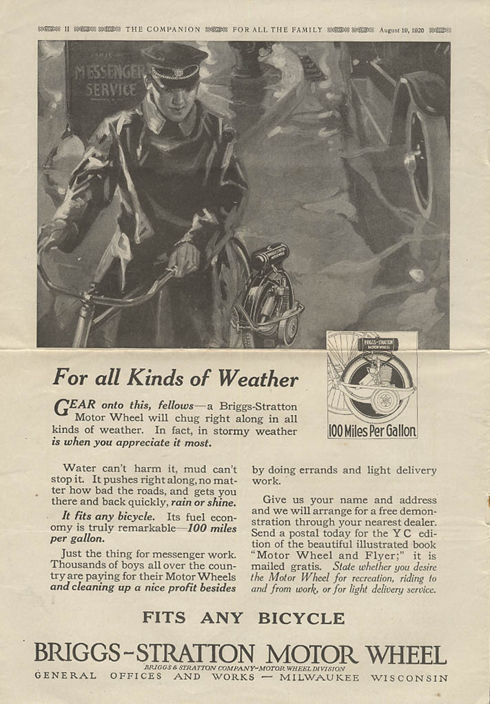 For All kinds of weather Briggs-Stratton Motor Wheel for bicycles ad 1920