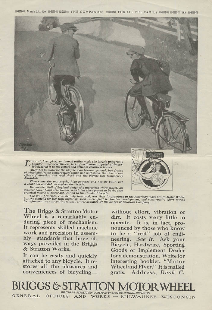 A remarkably enduring mechanism Briggs-Stratton Motor Wheel for bicycles ad 1920