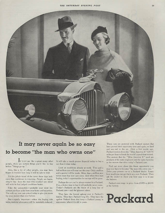 It may never be so easy to become The Man Who Owns One - Packard ad 1932 SEP