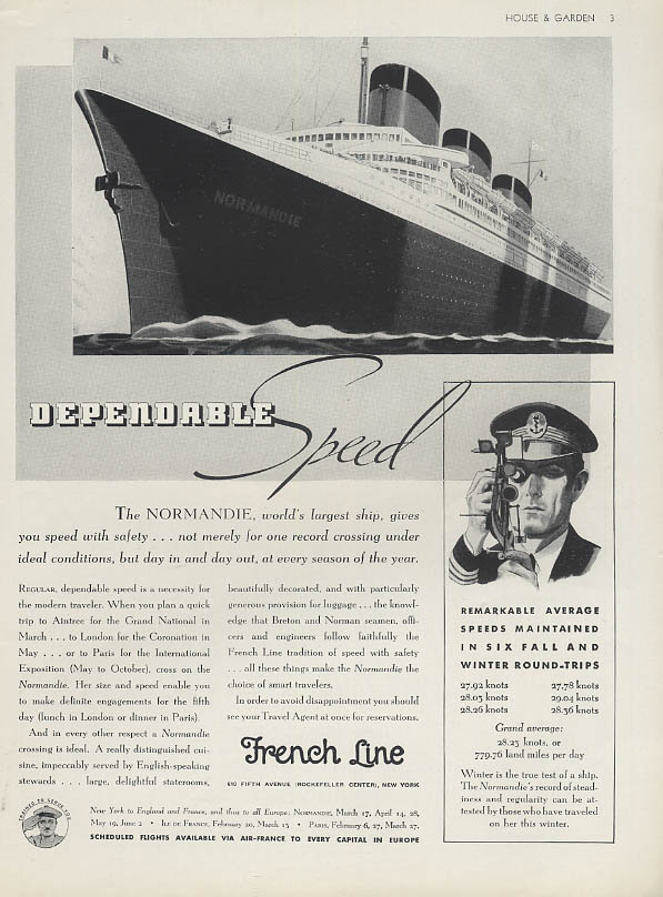 Dependable Speed - French Line S S Normandie ad 1937 H&G