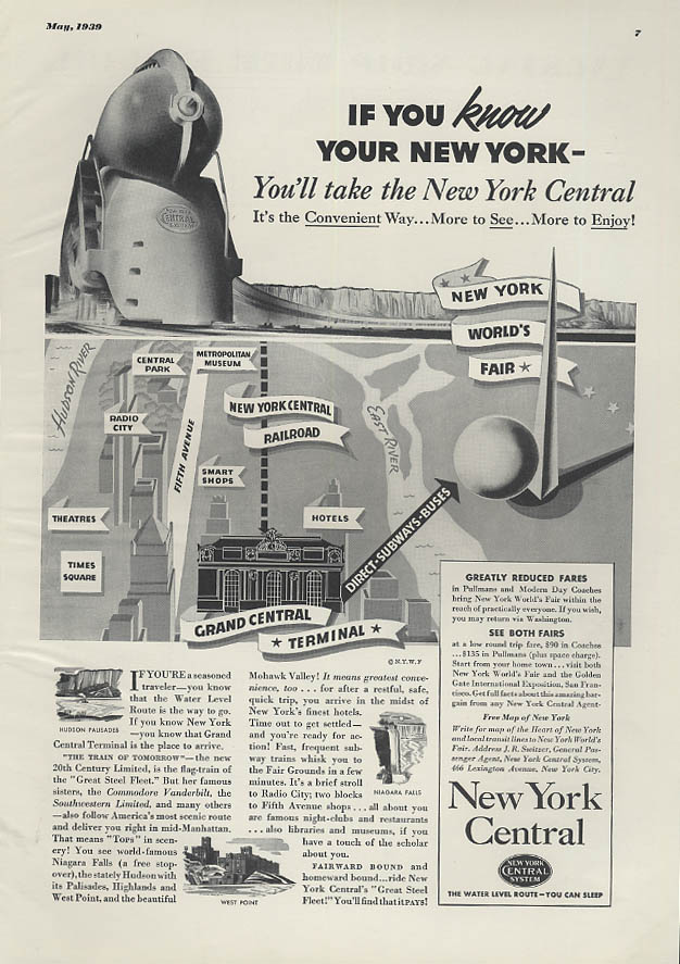 If you know your New York take New York Central RR to the World's Fair ad 1939