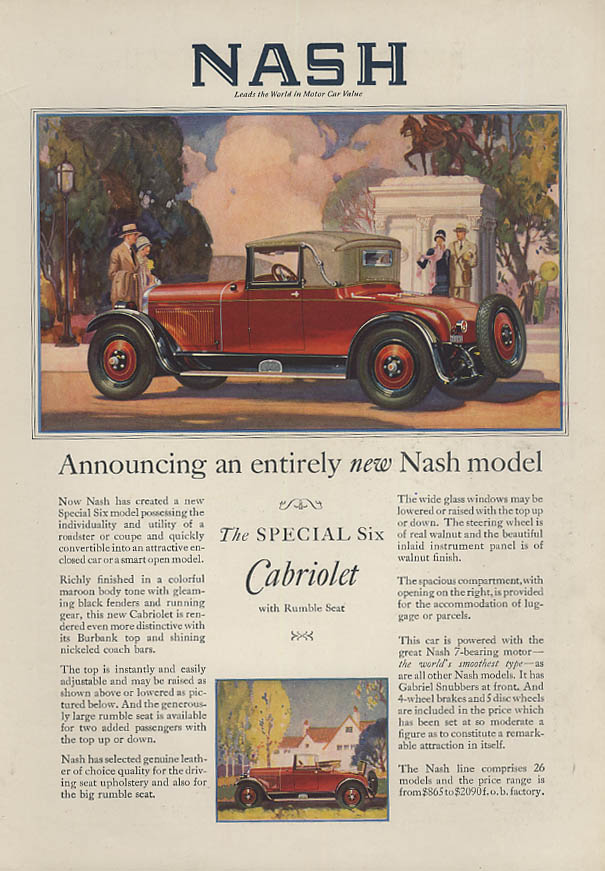 Announcing an entirely new Nash Special Six Rumble Seat Cabriolet ad 1927
