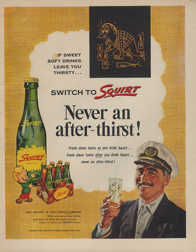 Never an after-thirst! Switch to Squirt ad 1954 Skipper Lk