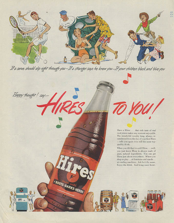 If a serve should slip through say Hires Root Beer to You! Ad 1951 SEP
