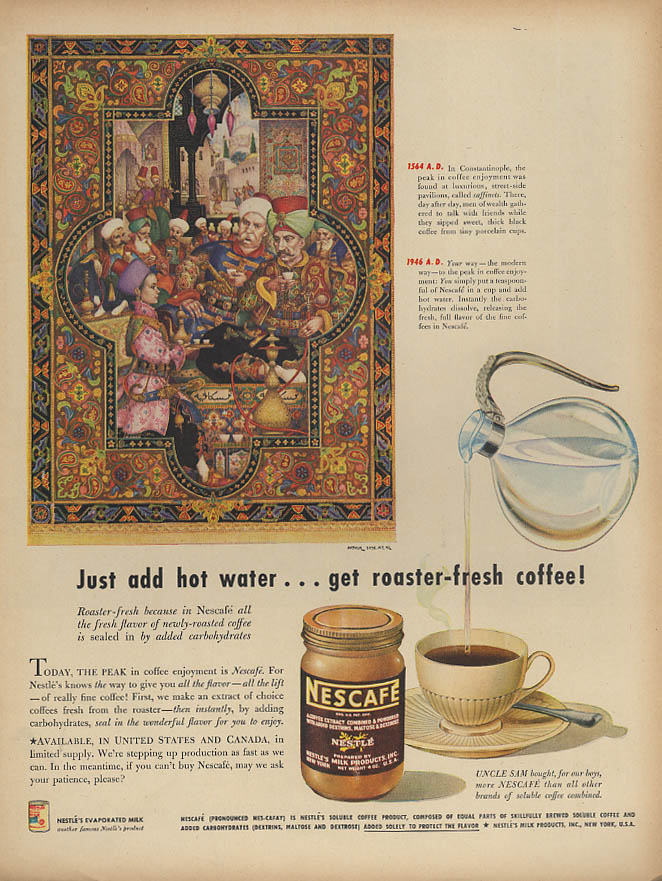 1546 AD in Constantinople Nescafe Instant Coffee ad 1946 Arthur Szyk L