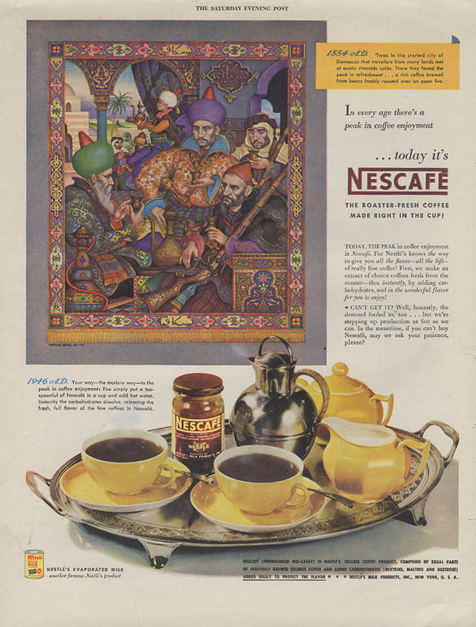 1554 AD in Damascus Nescafe Instant Coffee ad 1946 Arthur Szyk art SEP