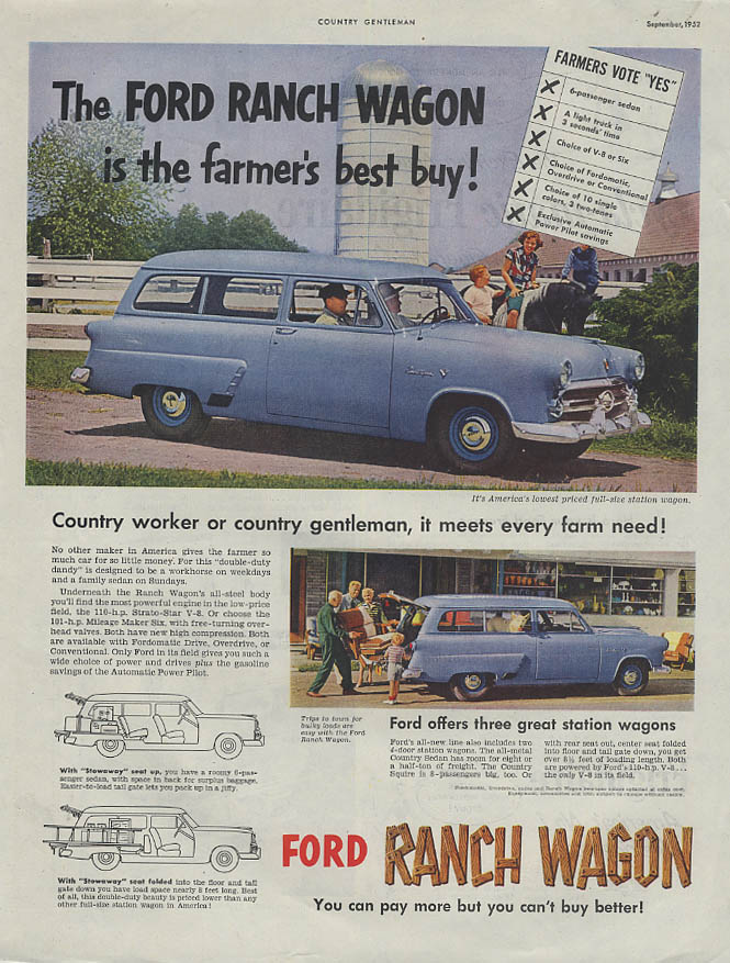 The Ford Ranch Wagon is the farmer's best buy! Ad 1952 CG