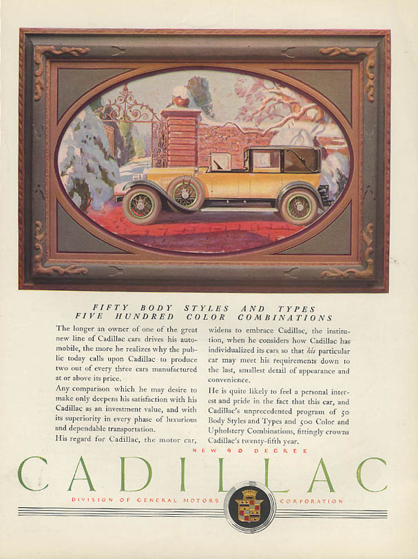 Fifty Body Styles & Types 500 Color Combinations Cadillac Town Car ad 1927