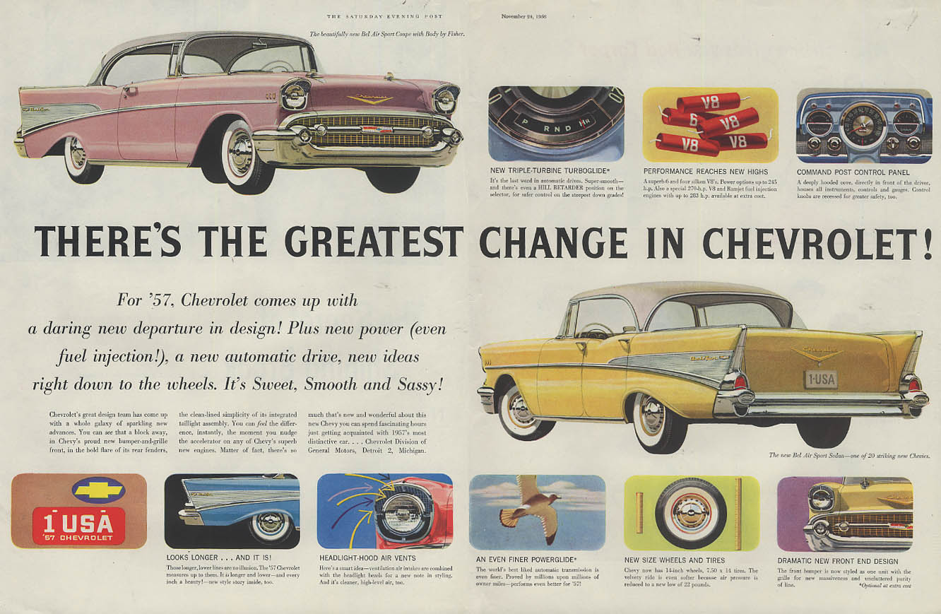 The Greatest Change! Chevrolet Bel Air Sport Coupe & Sedan ad 1957 SEP