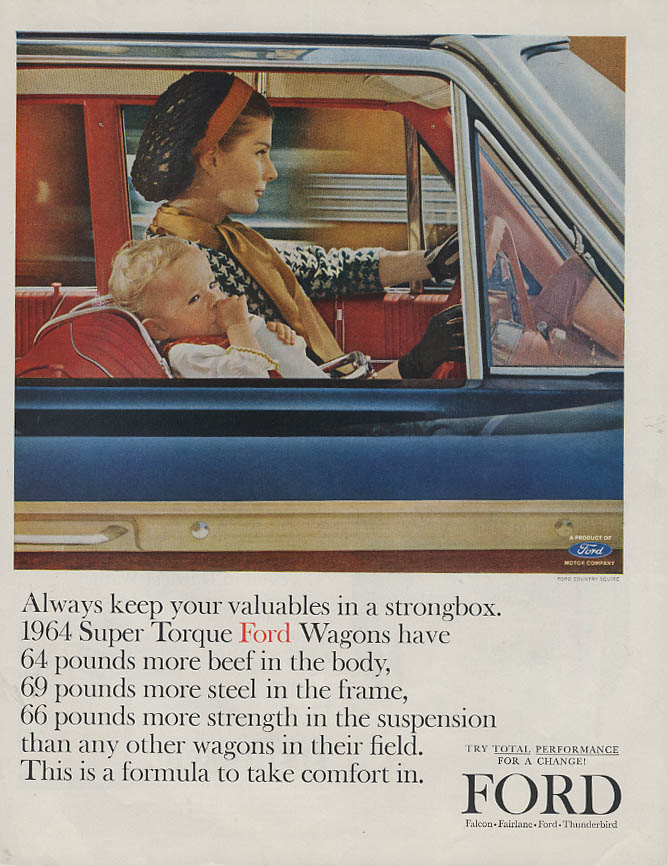 Always keep valuables in a strong box Ford Country Squire ad 1963 LHJ