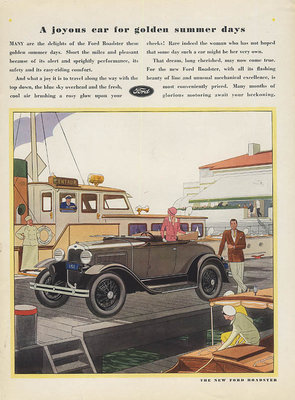 A joyous car for golden summer days Ford Model A Roadster ad 1930 Vogue