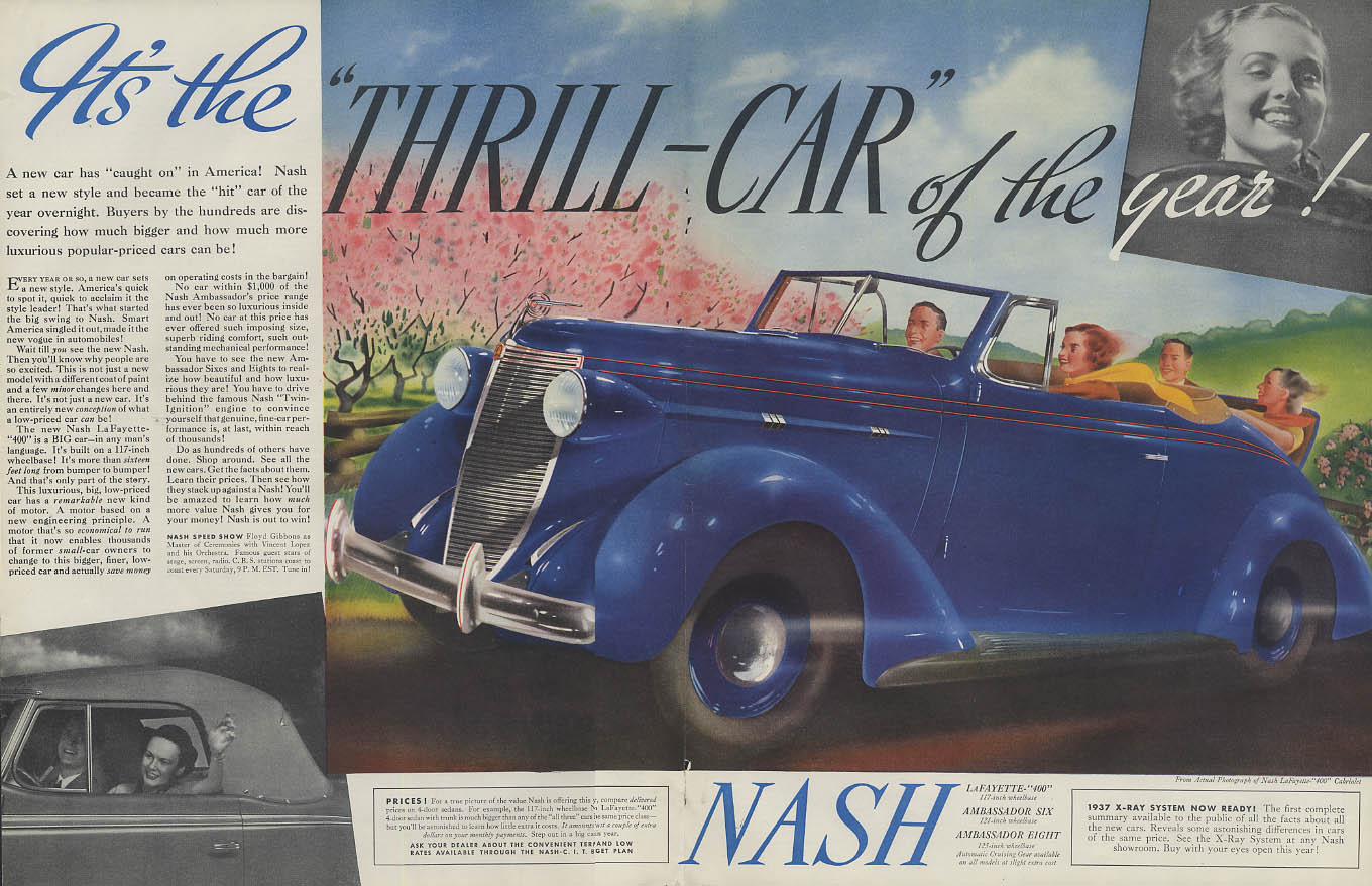 The Thrill Car of the Year! Nash Lafayette 400 Convertible Cabriolet ad 1937