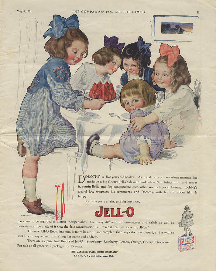 Image for Dorothy is five years old today Jell-O ad 1921 Rose O'Neill artwork YC