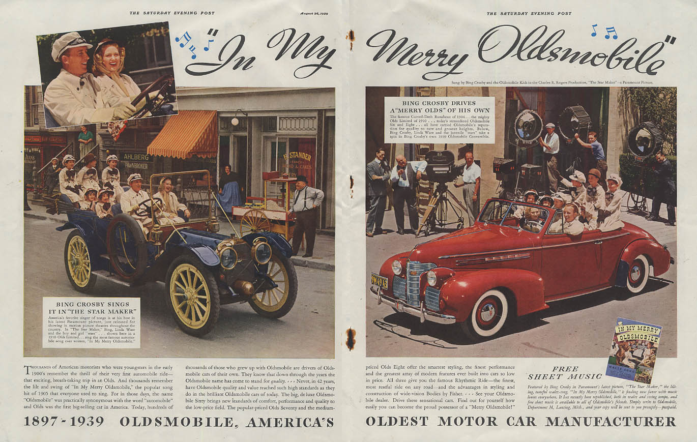 In My Merry Oldsmobile Bing Crosby in The Star Maker ad 1939 SEP