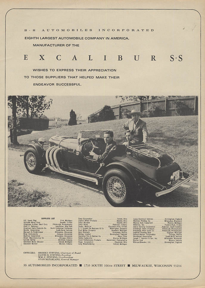 8th Largest Automobile Company in America Excalibur SS ad 1967