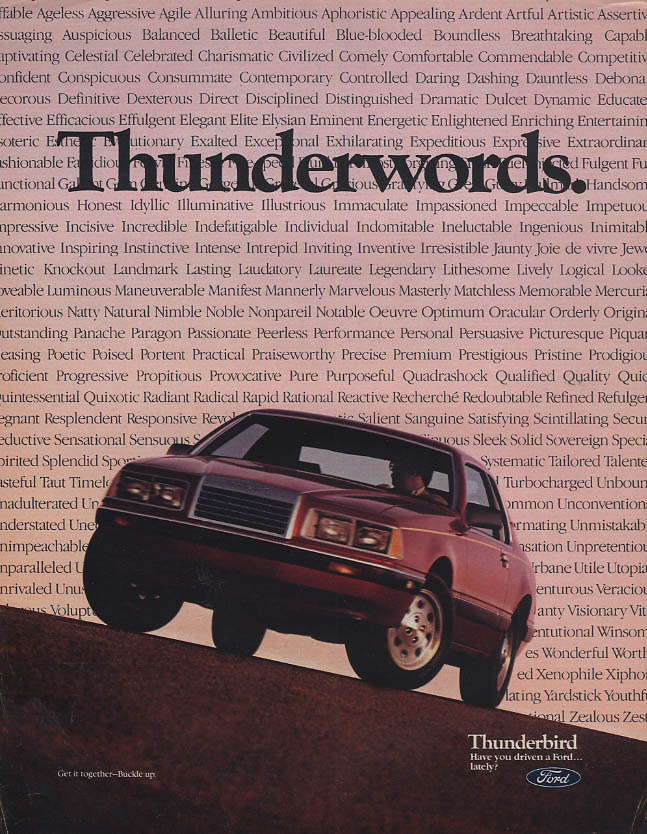 Image for Thunderwords. Have you driven a Ford Thunderbird lately? Ad 1985