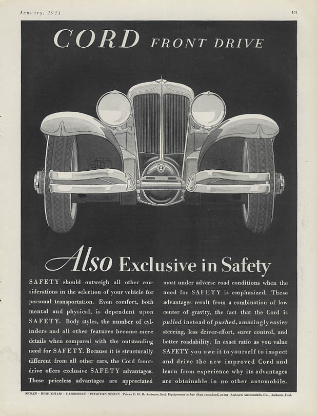 Also Exclusive in Safety - Cord Front Drive ad 1931 H&G