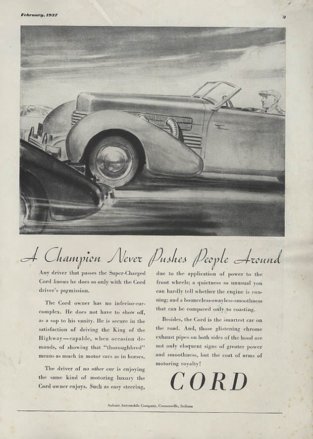 A Champion Never Pushes People Around - Cord ad 1937 Esquire
