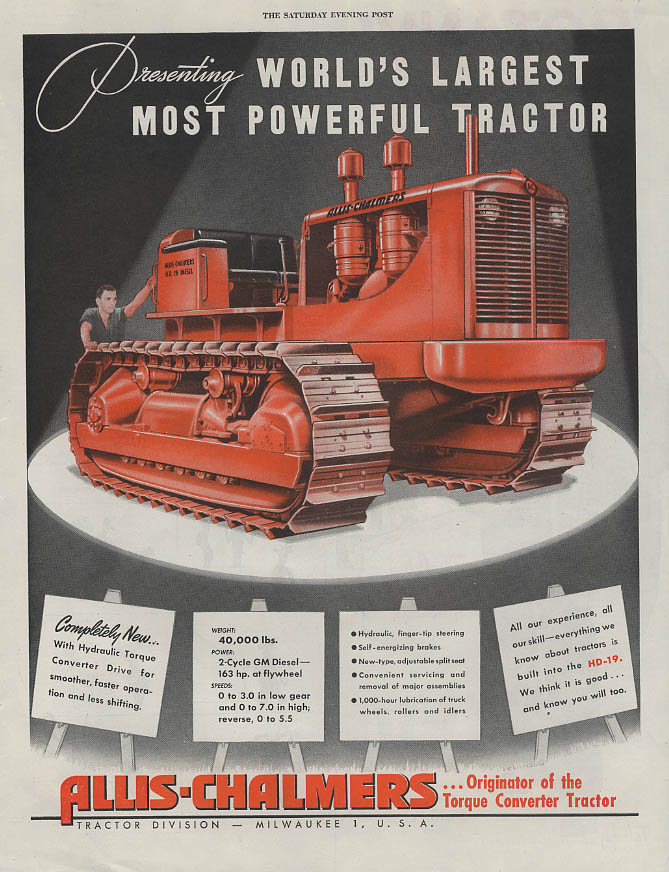 Image for Presenting the World's Most Powerful Tractor Allis-Chalmers HD-19 ad 1947 SEP