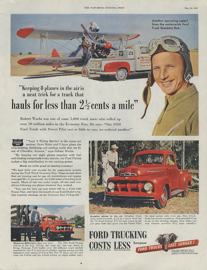 Dave Hulet's Lazy 8 Flying Service Crop Dusters Ford Pickup Truck ad 1951 SEP