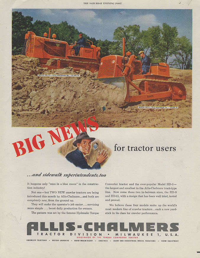 Big News for Tractor Users Allis-Chalmers HD-9 HD-15 Crawlers ad 1951