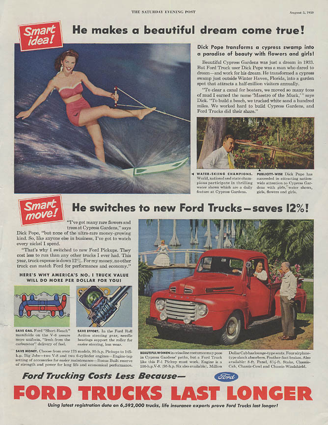 Dick Pope & Cypress Gardens for Ford Pickup Truck ad 1950 SEP