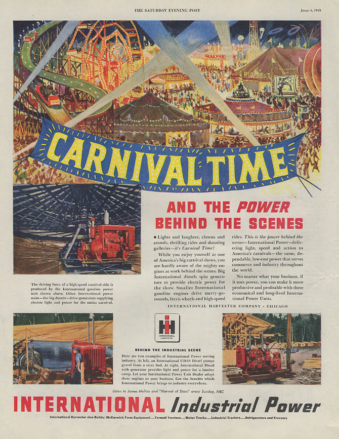 Carnival Time & International Industrial Power Behind the Scenes ad 1949 SEP