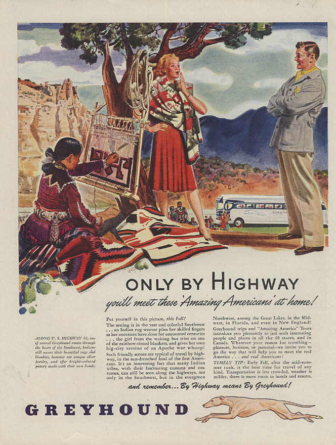 Only by Highway meet Amazing Americans Greyhound Bus ad 1946 H
