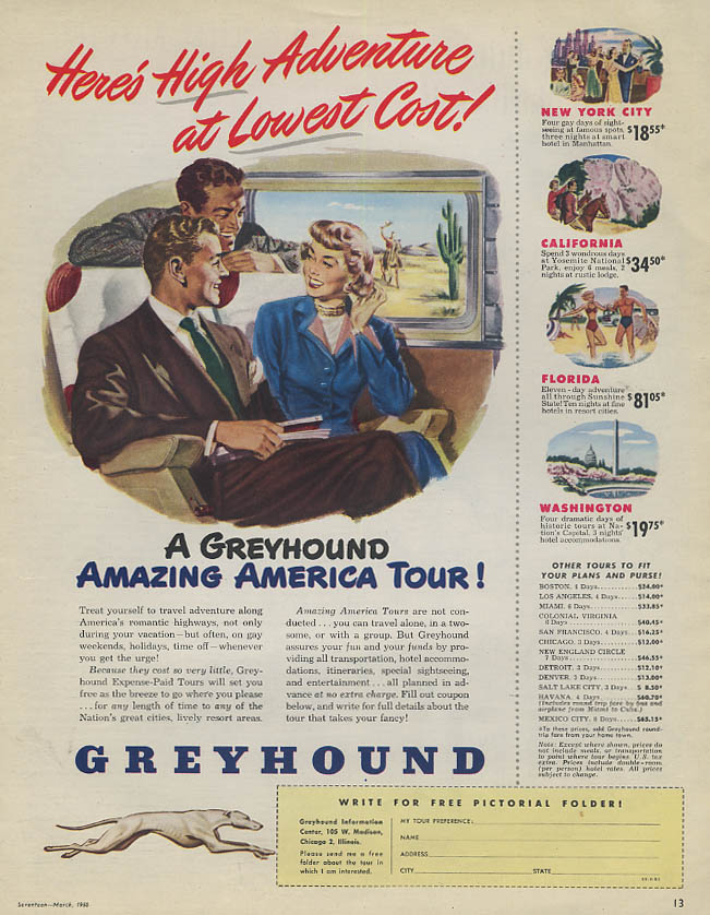 High Adventure at Lowest Cost - Greyhound Bus Amazing America Tour ad 1950 17