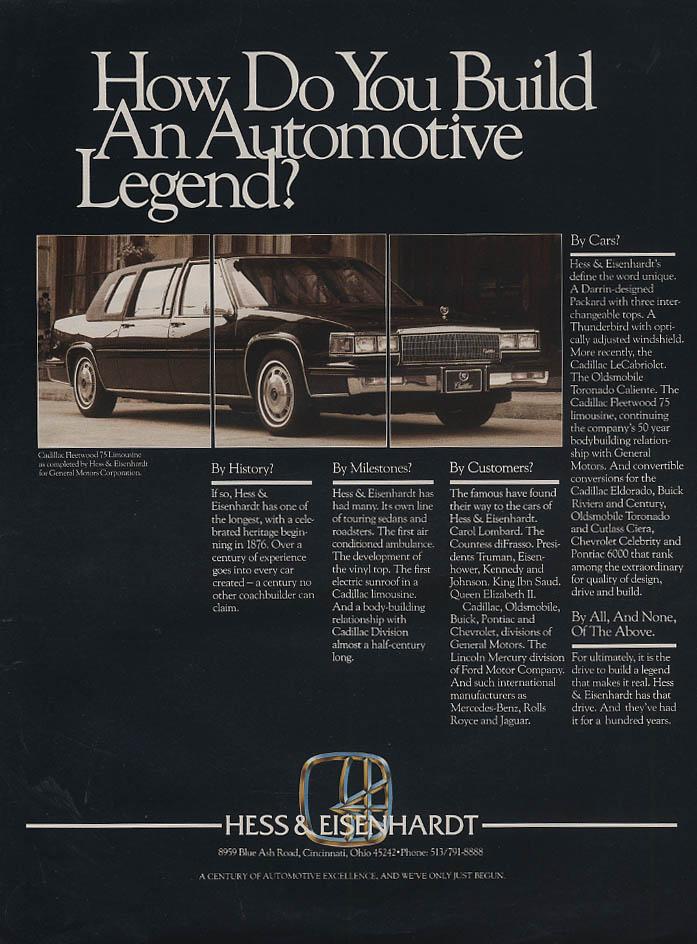 Build An Automotve Legend? Hess & Eisenhardt Cadillac Fleetwood 75 ad 1986