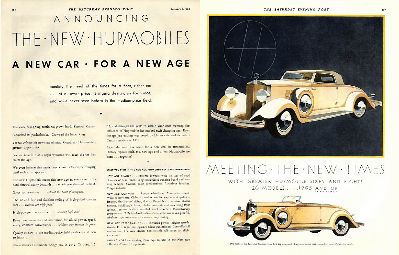 A New car for a New Age Announcing the New Hupmobile Cabriolet Roadster ad 1932