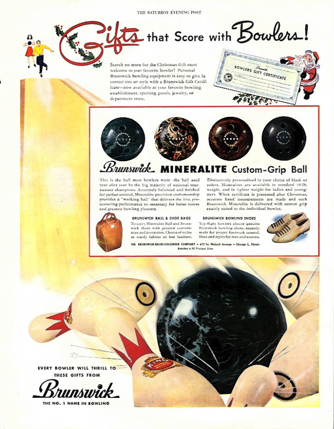 Gifts that Score with Bowlers! Brunswick Bowling Ball Bag & Shoes ad 1947