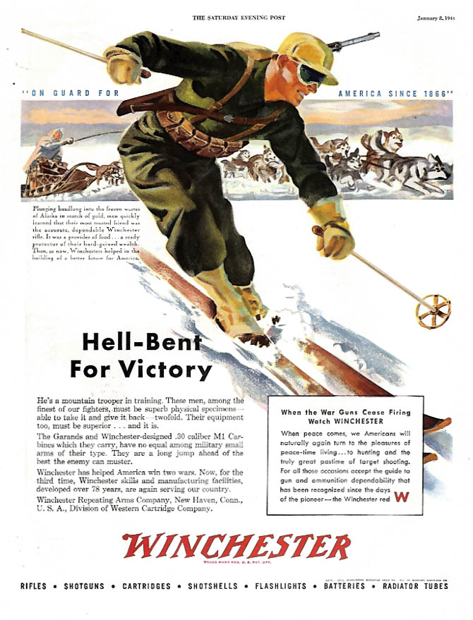 Hell-Bent for Victory Winchester M1 ski troopers ad 1944 P