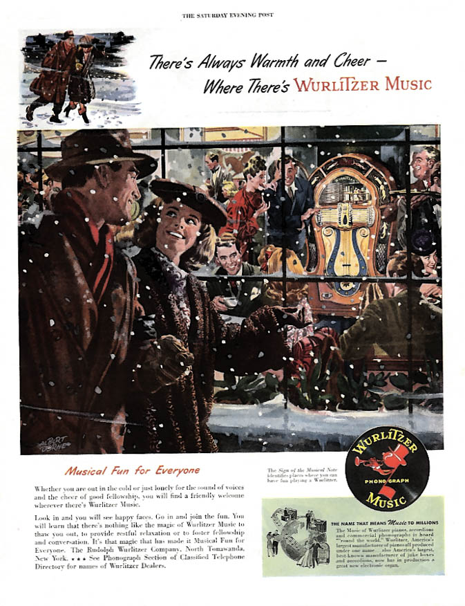 Always Warmth & Cheer Where There's a Wurlitzer Jukebox ad 1947 P