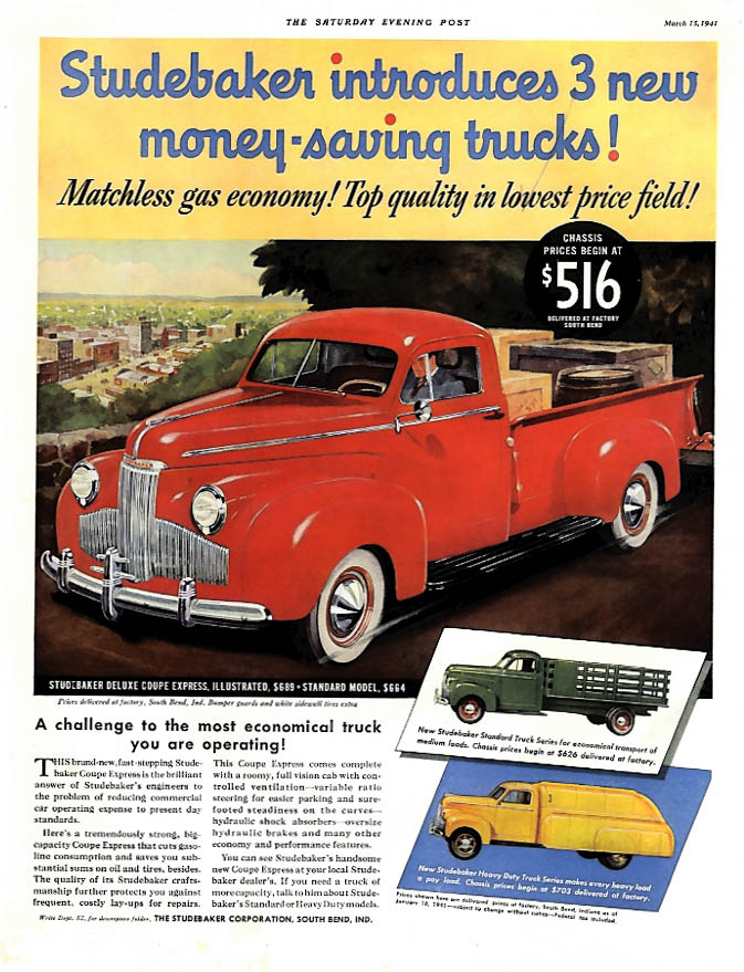 3 new money-saving Studebaker trucks pickup standard & heavy-duty ad 1941 P