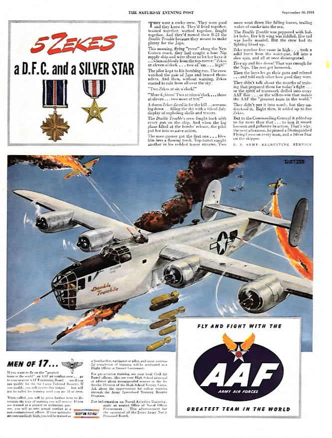 5 Zekes a DFC & a Silver Star Double Trouble B-24 New Guinea US AAF ad 1944 P