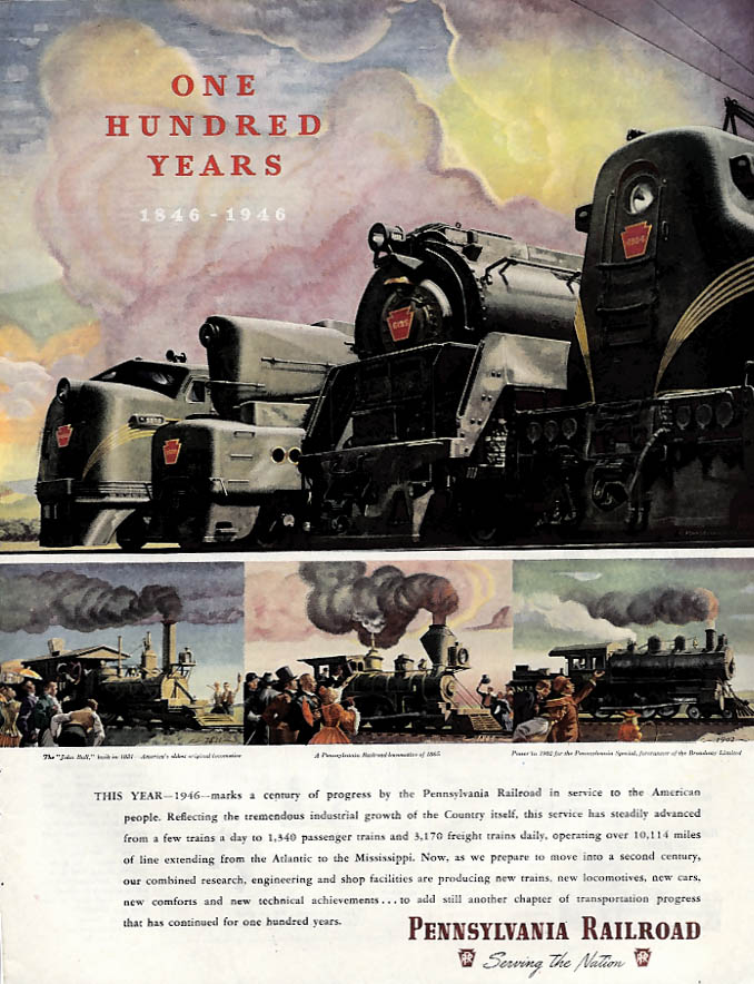 One Hundred Years 1846-1946 Pennsylvania Railroad ad 1946