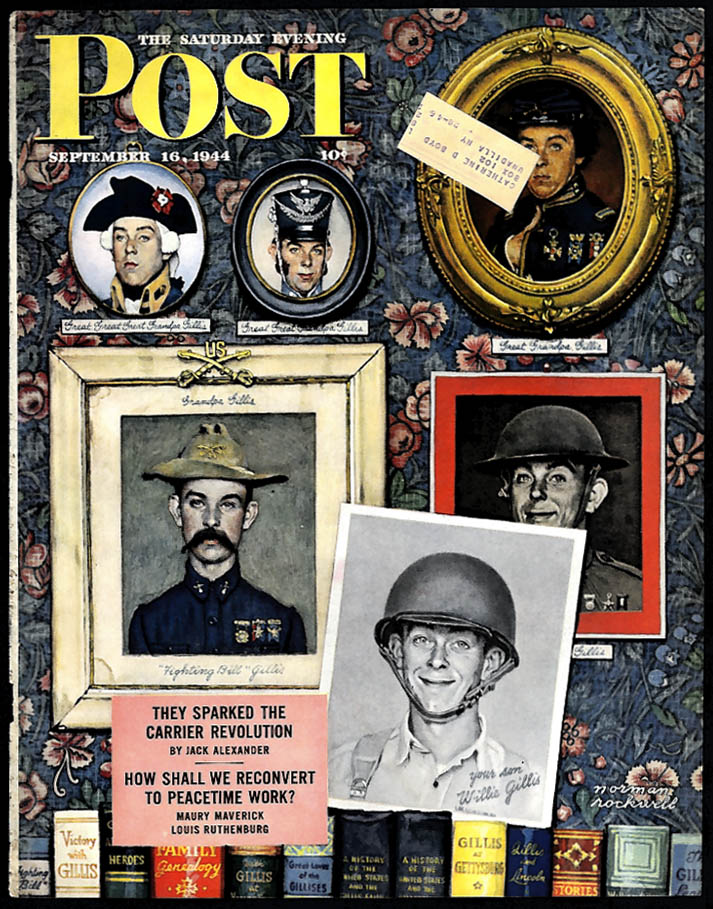 Norman Rockwell SATURDAY EVENING POST COVER 9/16 1944 Gillis soldiers