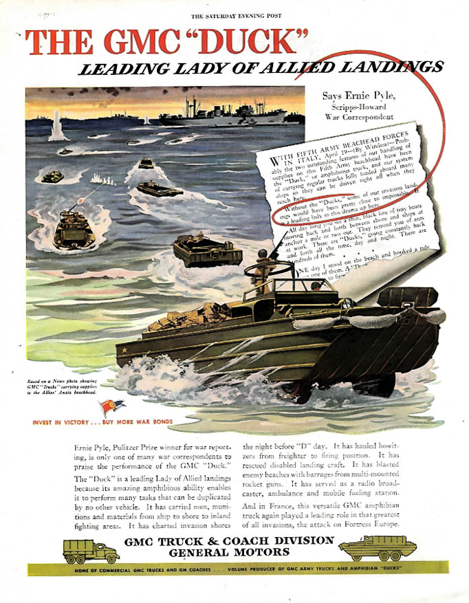The GMC Duck leading lady of the Allied Invasion ad 1944 P